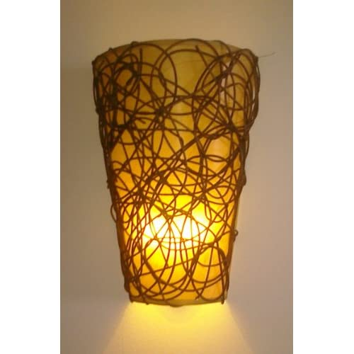 Battery Wall Sconces Remote : Lamps Lights And Lighting: Battery Operated Wall Sconce - Wicker Style with Remote