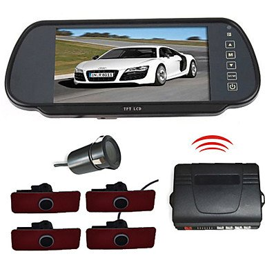 "Car Rearview Mirror With 7"" Lcd Screen Back-Up Camera And 4 Wireless Radar Parking Sensors System Alarm, Black"