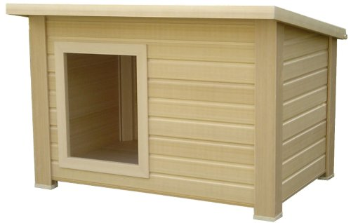 New Age Pet All Weather Insulated Dog House- Brown Rustic Lodge, XL, for pets up to 160-Pound