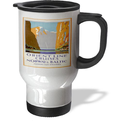 Tm_149207_1 Bln Vintage Ocean Liners Advertising Posters - Vintage Orient Line Cruises Norway And Baltic Ocean Liner Poster - Travel Mug - 14Oz Stainless Steel Travel Mug