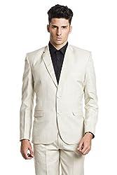 Wintage Men's OCM Linen Wool Blend Two Buttoned Notch Lapel Festive and Casual Light Beige Blazer