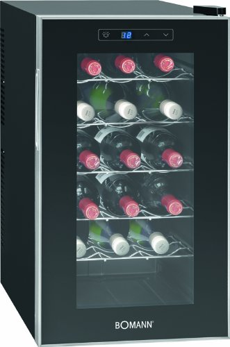 Bomann KSW 345 Weinkühlschrank Freistehend / B / 189 kWh/Jahr / 63.6 cm / 18 Flaschen / elektronische Temperatursteuerung und -einstellung / schwarz