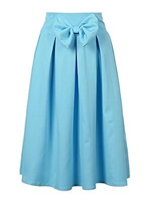 Persun Women Bowknot Front Pleat Midi Skirt