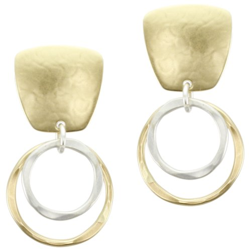 Marjorie Baer Square with Tiered Rings Clip on Ear…