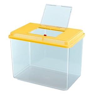 Ferplast Geo Fish Tank, Maxi, 41.3 x 26 x 29.8 cm, 21 Liter, Yellow