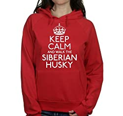Keep calm and walk the Siberian husky womens hooded top pet dog gift ladies Red hoodie white print