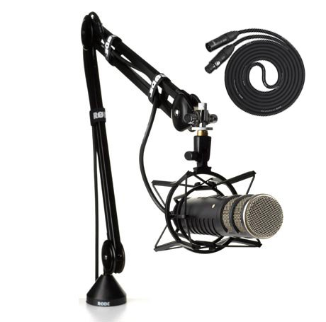 Ultimate Broadcast Bundle: Rode Procaster - Large Capsule Broadcast Quality Dynamic Microphone With Rode Psa 1 Swivel Mount Studio Microphone Boom Arm And Rode Psm 1 Shockmount; For Broadcasting
