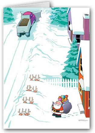 Reindeer Buried by Snow Plow Funny Christmas