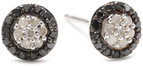 Black Rhodium Plated Sterling Silver Black and White Diamond Cluster Stud Earrings (.25 cttw, G-H Color, I2-I3 Clarity)