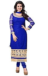 Cenizas Blue Colour Georgette Embroidered Semi-stitched Dress Material