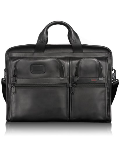 Tumi Alpha Compact Large Screen Laptop Leather Brief, Black, Large
