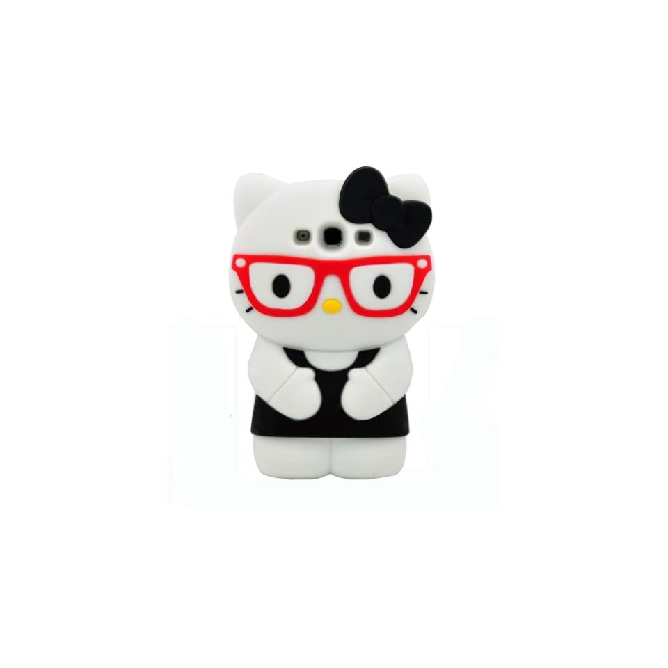 BYG Black wearing glasses 3d Hello Kitty for Samsung Galaxy S3 I9300 Soft Case Cover + Gift 1pcs Phone Radiation Protection Sticker