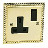 Socket 1 Gang - Polished Brass Georgian - Black Insert Plastic Switch - 13A Single Wall Plug Socket