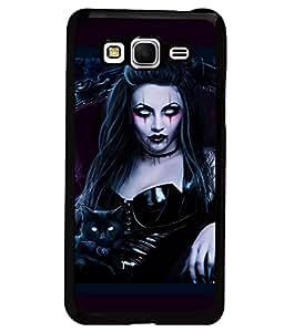 Printvisa Premium Designer Semi Metallic CAT GIRL Back Case Cover for Samsung Galaxy Grand prime - D7144