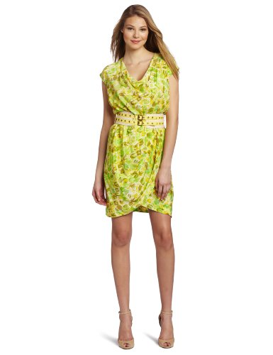 Tracy Reese Women's Cowl Neck Dress, Yellow/Green Tulips, Petite