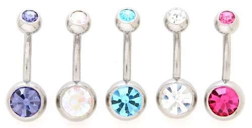 Lot of 5 New Double Jeweled Gemmmed Belly Navel Body Jewelry Piercing Bar Ring Rings 14g