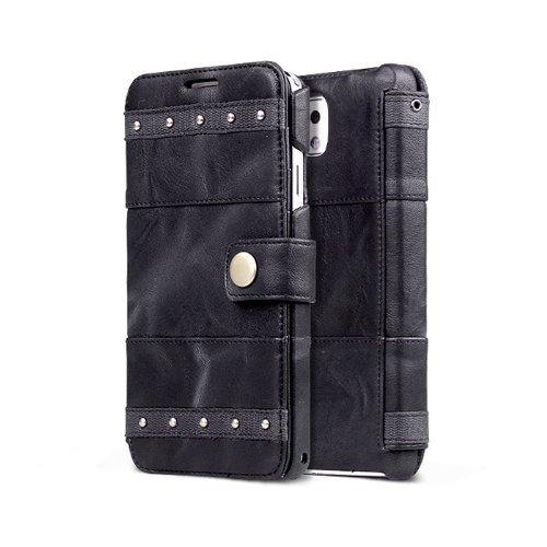 Smart Tech ®Samsung Galaxy Note 3 Bohemian M Diary Wallet Case Cover High End Genuine Leather Case For Galaxy Note Iii (Dark Gray)