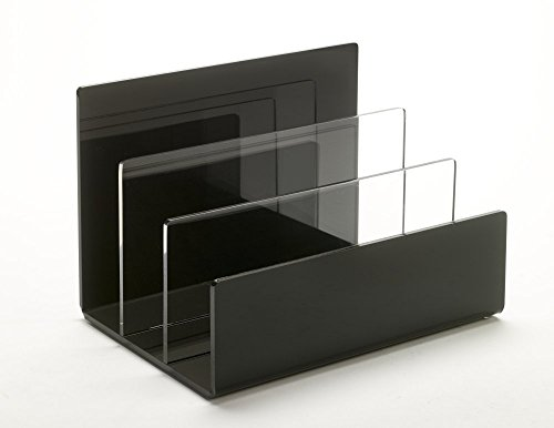 Unum Desktop Letter, Mail, File Organizer; Sorter for Makeup Palettes, Folders; Tabletop Charging Station; Handcrafted Black/Clear Acrylic