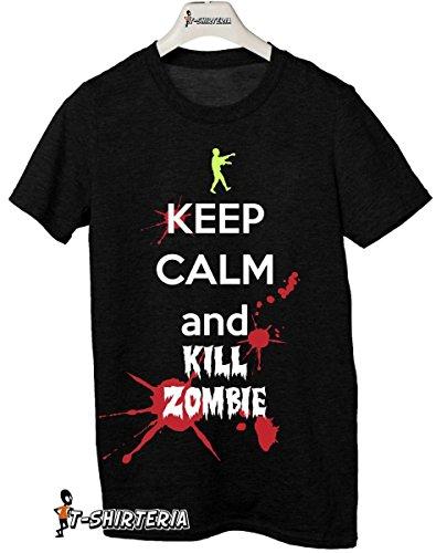t-shirt Keep calm and kill zombie tutte le taglie uomo donna maglietta by tshirteria