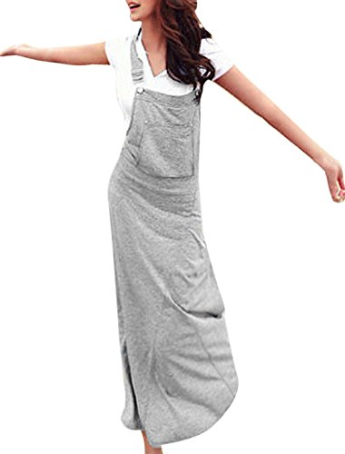 Women Hooded Solid Color Pullover Slim Fit Overall Dress Light Gray Xs