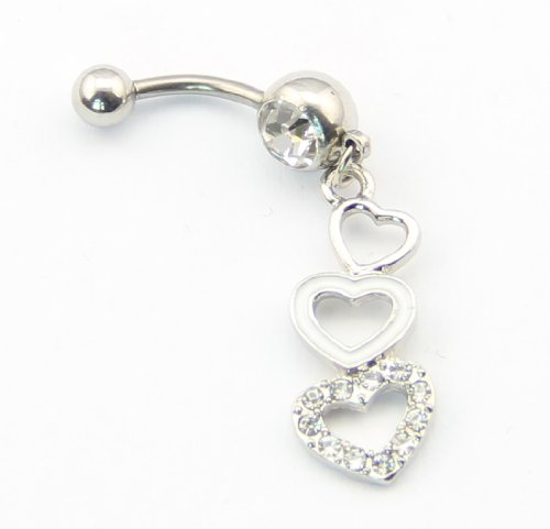316L Surgical Steel 14g Triple Three Heart Dangle Navel Belly Ring Bar Barbell Body Piercing