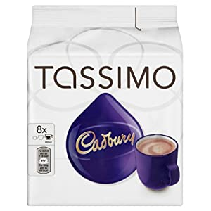 TASSIMO Cadbury Hot Chocolate Drink 16 discs, 8 servings (Pack of 5, Total 80 discs/pods, 40 servings)