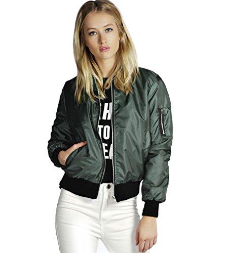 AIYUE Giacca Corta Donna Cappotto Biker Casuale Giacchetto Moto Bomber Jacket Maniche Lunghe con Cerniera Outerwear(verde militare,M)