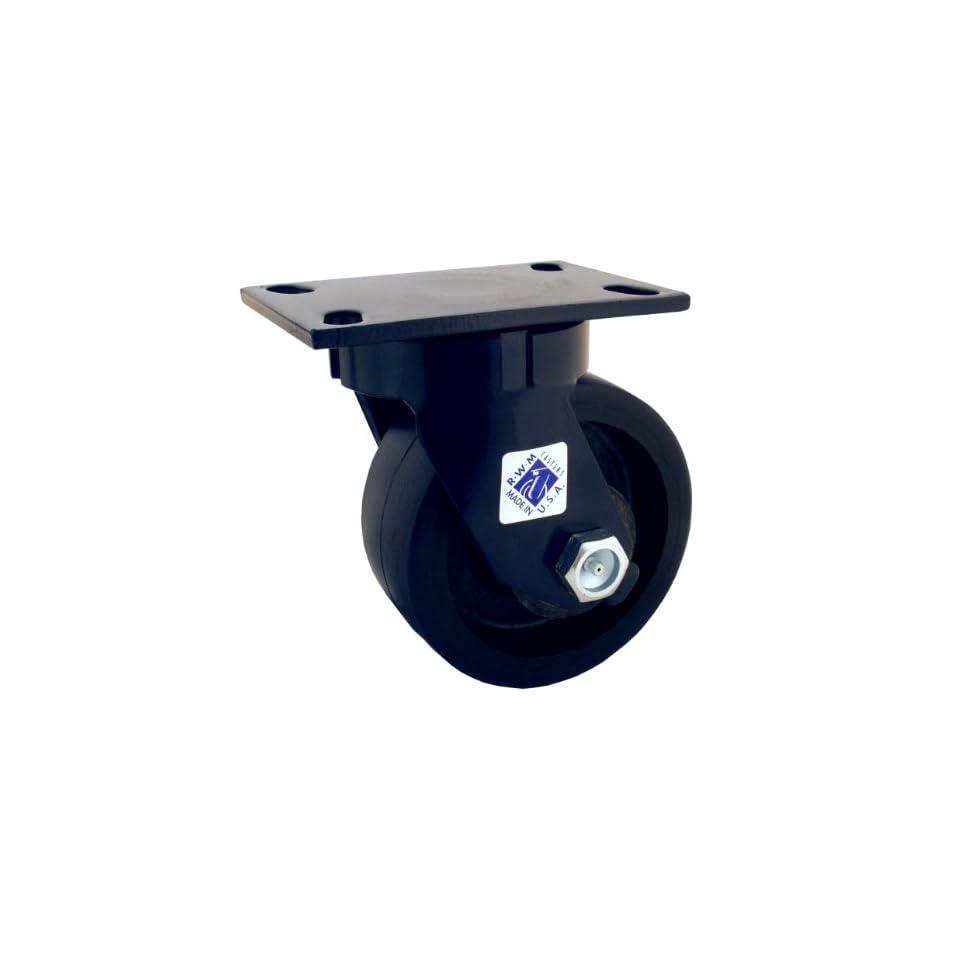 RWM Casters 75 Series Plate Caster, Swivel, Kingpinless, Forged Steel Wheel, Roller Bearing, 5500 lbs Capacity, 8 Wheel Dia, 3 Wheel Width, 10 1/8 Mount Height, 6 1/2 Plate Length, 4 1/2 Plate Width