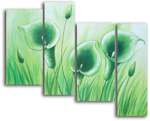 Sangu Wood Framed Wild Meadows Landscapes Home Decoration Modern Oil Painting Gift On Canvas 4-Piece Art Wall Decor