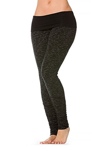Hard Tail Ikat Contoured Ruched Roll Down Legging in Black (Medium)
