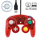 Mekela Classic Wired USB PC Controller Joystick Gamepad resembles Gamecube Game Cube for PC Windows MAC (USB Clear Red)