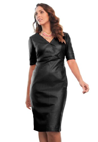 Jessica London Plus Size Leather Sheath Black,12