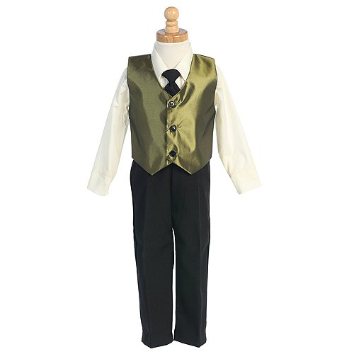 Little Boys Green Vest Special Occasion Holiday 3pc Suit Set 6M-7
