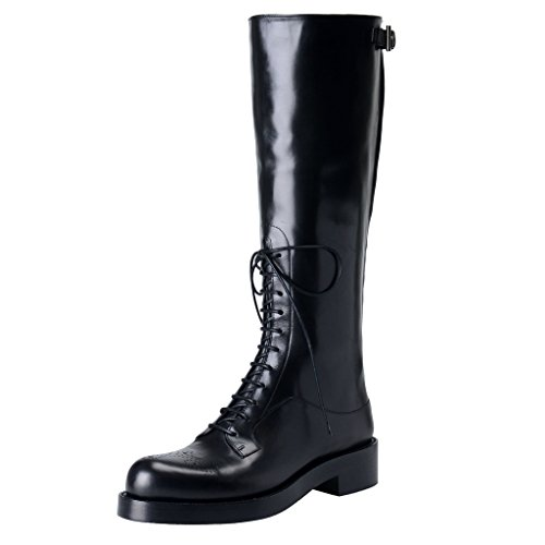 Prada Womens Black Leather Riding Boots Shoes