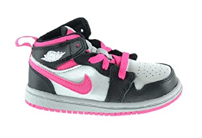 Buy Jordan 1 Mid (BT) Baby Toddlers Basketball Shoes Metallic Silver White-Black-Vivid Pink 640735-009 by Jordan