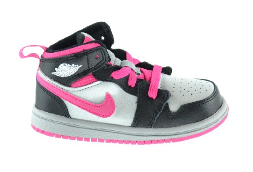 Jordan 1 Mid (BT) Baby Toddlers Basketball Shoes Metallic Silver/White-Black-Vivid Pink 640735-009 (6 M US)