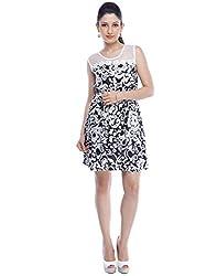 Designeez Black, White Embroidered Shift Dress