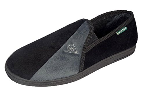 mens-famous-dunlop-winston-ii-slippers-with-super-comfort-cushioned-insock-black-grey-13-uk