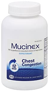 Mucinex Expectorant, 600mg, Extended-Release Bi-Layer Tablets 500 ea