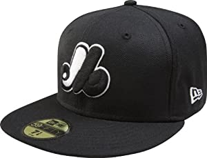MLB Montreal Expos Cooperstown Black with White 59FIFTY Fitted Cap by New Era