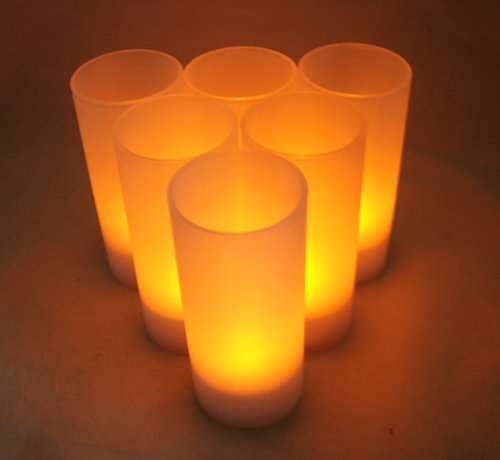 6Pc Amber Rechargeable Led Tea Light Candles Set With Votives