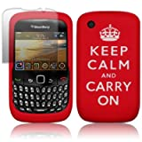 "BLACKBERRY CURVE 8520 ""KEEP CALM AND CARRY ON"" LASERED SILICONE SKIN CASE - RED, WITH SCREEN PROTECTOR PART OF THE QUBITS ACCESSORIES RANGEby Qubits"