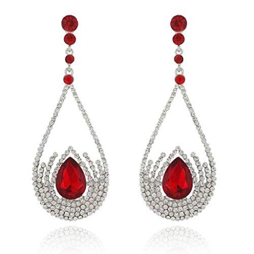 Ever Faith Orecchini a goccia in stile Art Déco austriaco di cristallo silver-tone - Red N03512-4