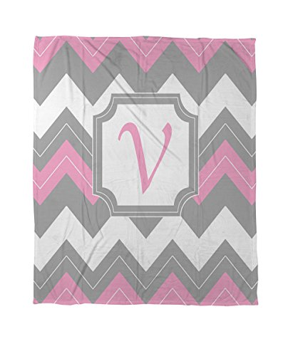 Thumbprintz Coral Fleece Throw, 50 By 60-Inch, Monogrammed Letter V, Pink Chevron front-431405