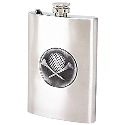 8oz Stainless Steel Flask with Embossed Golf Emblem