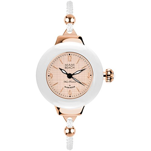 Glam Rock MBD27186 - Reloj para mujeres, correa de nailon color blanco
