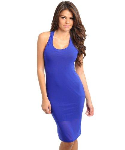 2Luv Women'S Block Color Mini Strap Back Mini Dress Blue L(D5422)