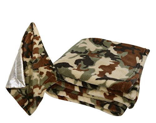Stephan Baby Super-Soft Fleece Crib Blanket and Security Blankie Set, Camo Print