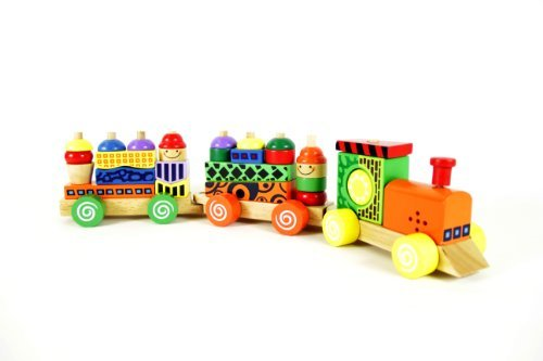Wooden Block Train Puzzle Set with Colorful Stacking Blocks [Toy]