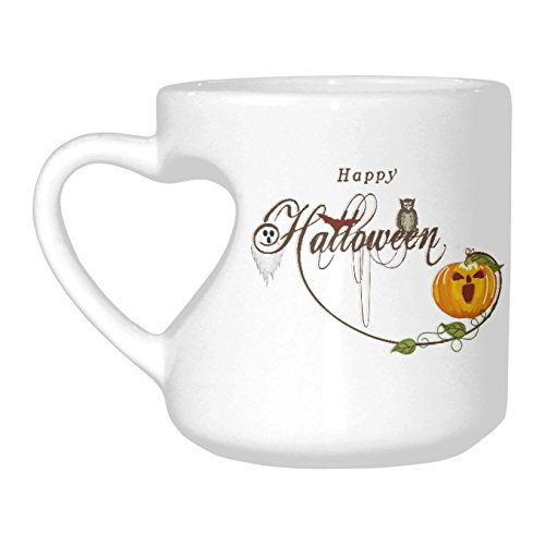 InterestPrint Halloween Ghost Owl Scary Pumpkin White Ceramic Heart-shaped Travel Water Coffee Mug Tea Cup Set - Funny Unique Birthday Gift for Men Women Husband Wife Boy Girl Friends Him Her (Scary Halloween Coffee Mugs)